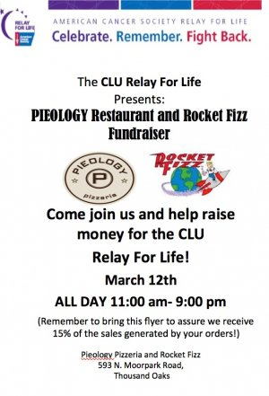 Relay For Life Fundraiser at Pieology and Rocket Fizz
