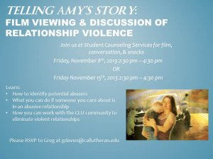 Telling Amy's Story: Film Viewing and Discussion about Relationship Violence