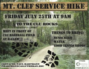 CLU Service Hike: LOCATION CHANGE NOW AT CLU