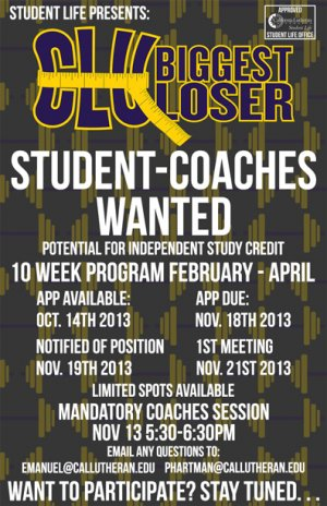 Biggest Loser, Student Coach Applications Due!