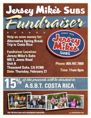 Alternative Spring Break Fundraiser at Jersey Mike's
