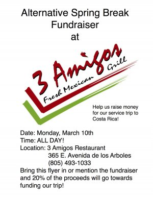 Alternative Spring Break Fundraiser at 3 Amigos