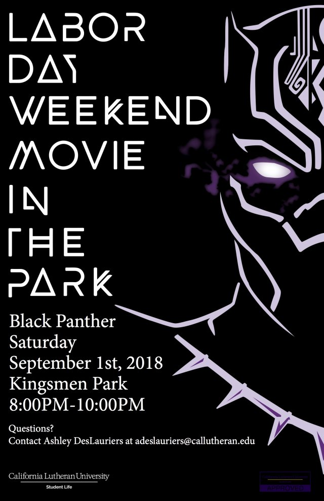 "Labor Day Weekend ""Black Panther"" Movie In The Park"