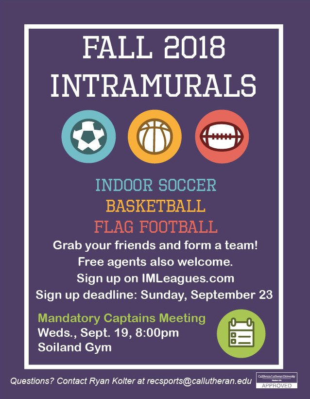 Fall Intramurals Signup Deadline