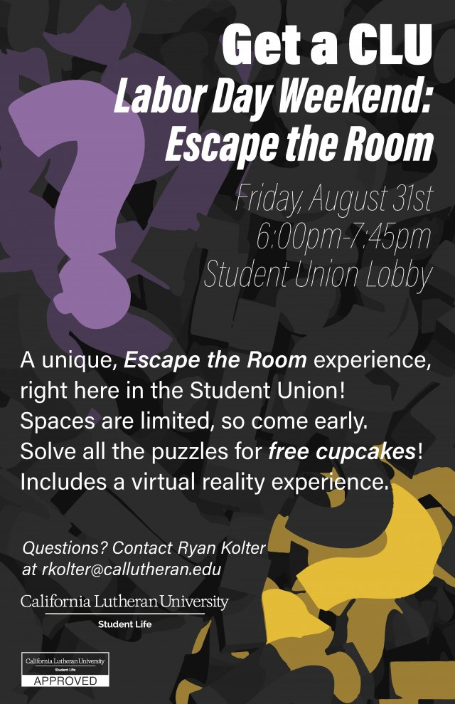 "Labor Day Weekend ""Get a CLU"" Escape Room"
