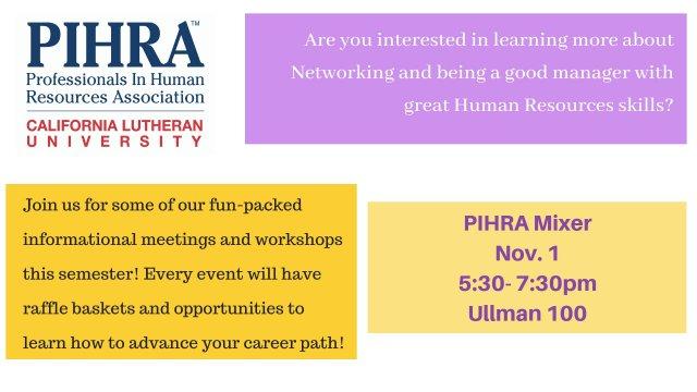 PIHRA Mixer Nov. 1 | 5:30- 7:30pm |Ullman 100