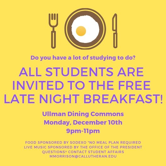 Free Late Night Breakfast for all students