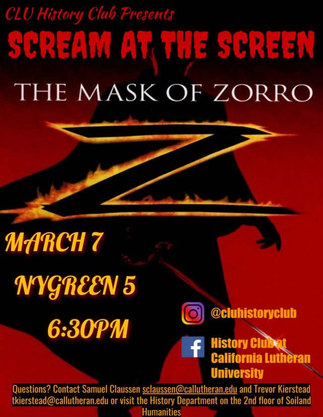 History Club: Scream at the Screen! The Mask of Zorro