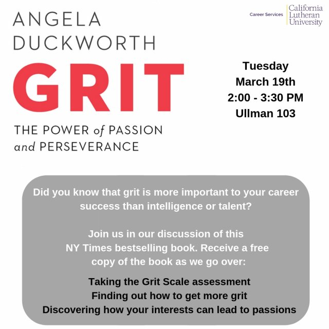 """Grit: The Power of Passion & Perseverance"" Book Workshop"