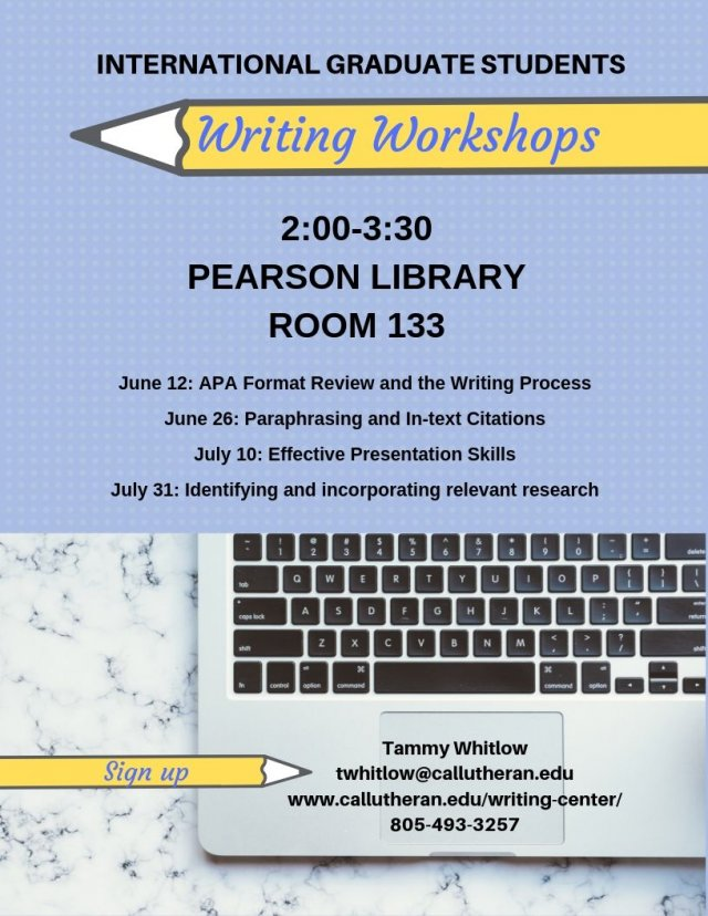 The Writing Center Presents:  International Student Writing Workshops