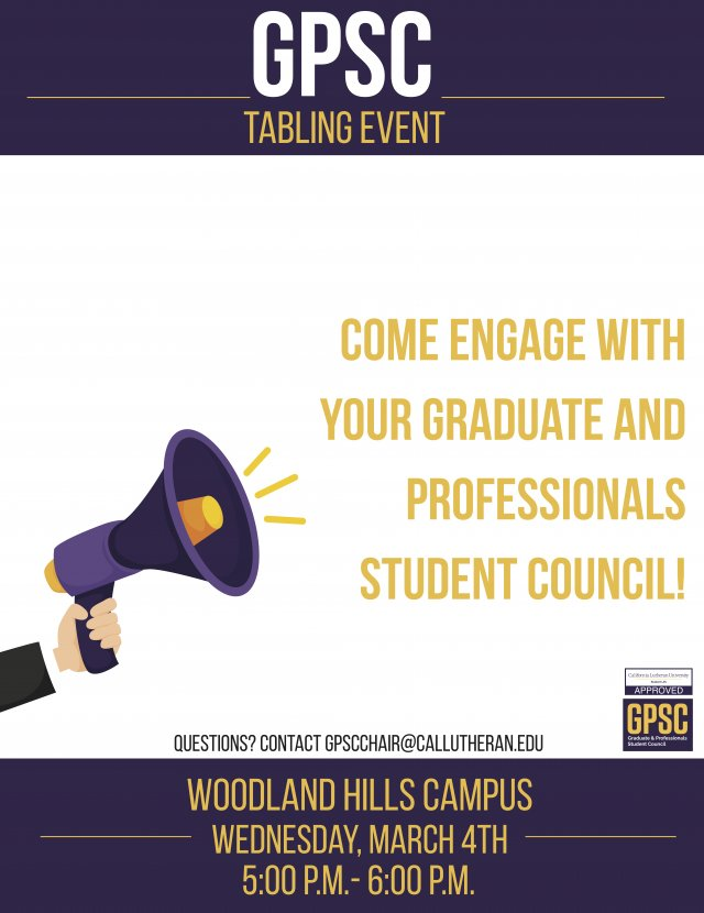 GPSC Tabling Event at Woodland Hills
