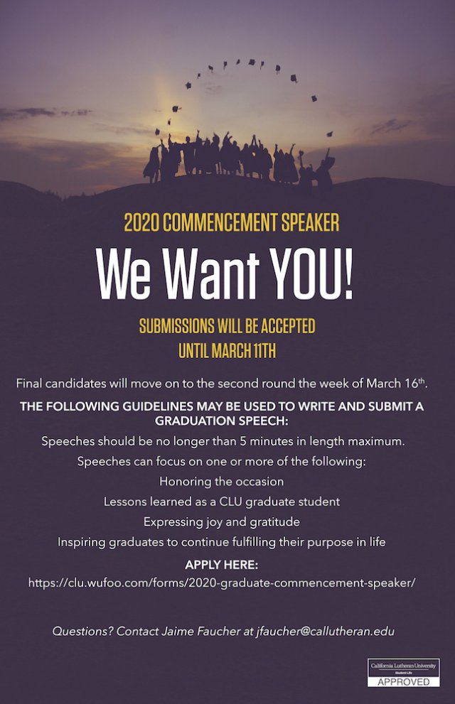 Apply to be the Graduate Commencement Speaker!