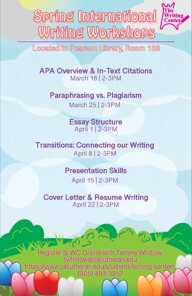 International Writing Workshops - APA Overview & In-text Citations