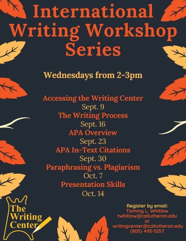 International Writing Workshop: ACCESSING THE WRITING CENTER