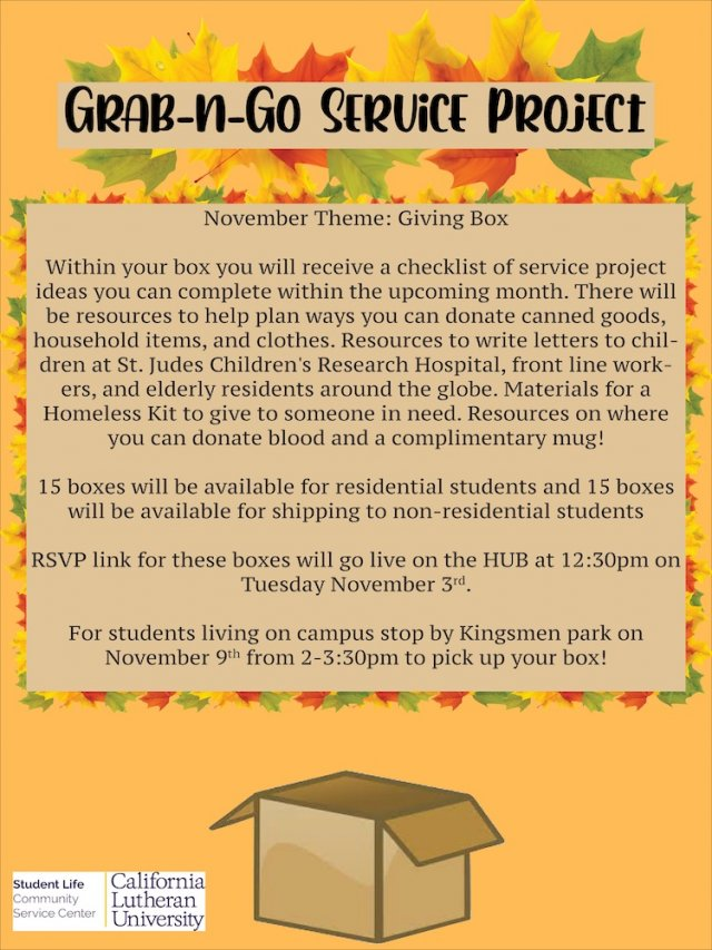 Grab N Go Service Projects RSVP