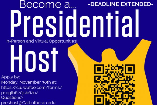 DEADLINE EXTENDED- Presidential Host Application