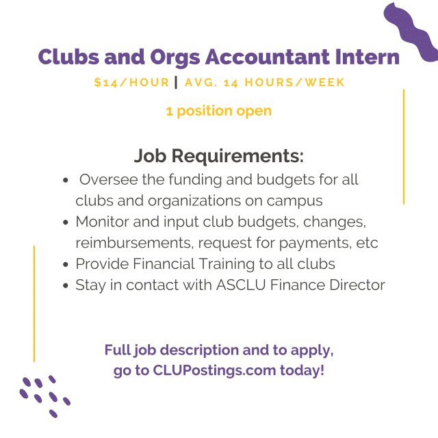 Student Life - Clubs and Orgs Accountant Internship Q&A