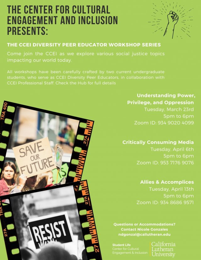 CCEI Diversity Peer Educator Workshop Series: Allies & Accomplices