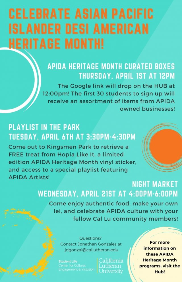 Asian Pacific Islander Desi American Heritage Month (APIDA) Programming