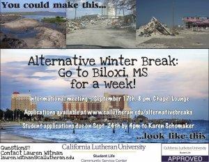 Alternative Winter Break Applications DUE