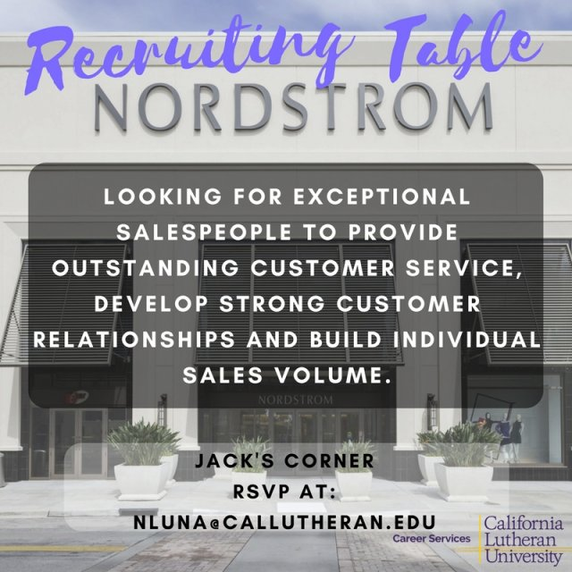 Nordstrom On Campus Recruiting Table