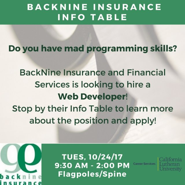 BackNine Insurance Info Table