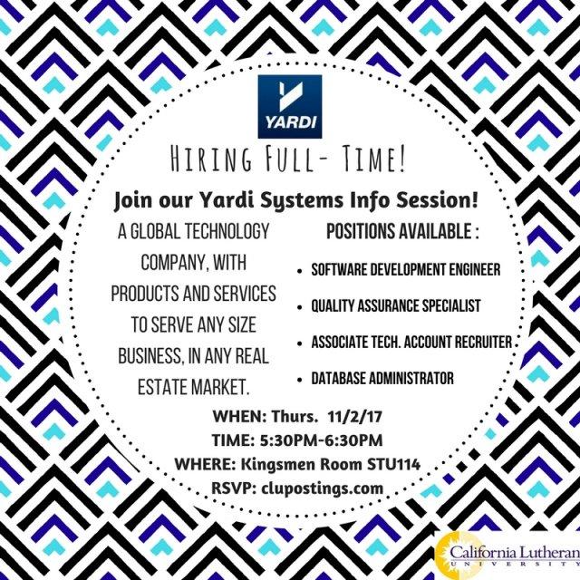 Yardi Info Session   Cal Lutheran