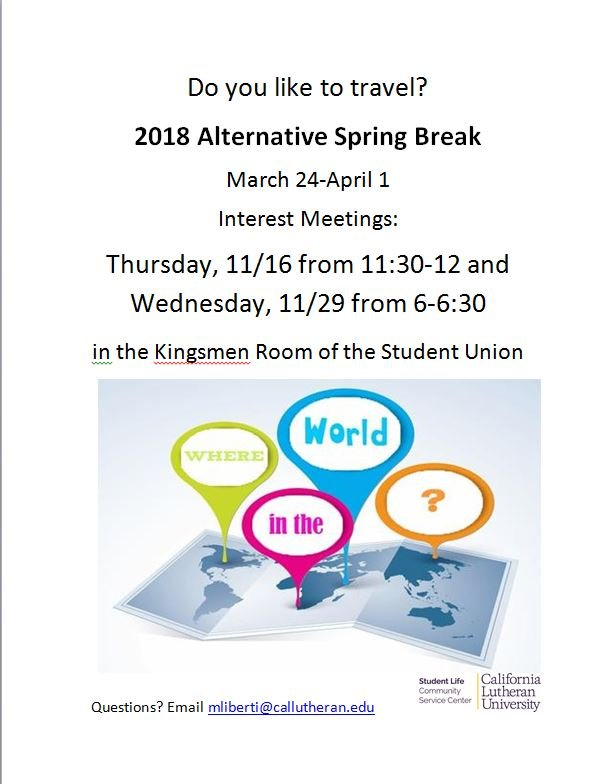 Alternative Spring Break Trip Interest Meeting