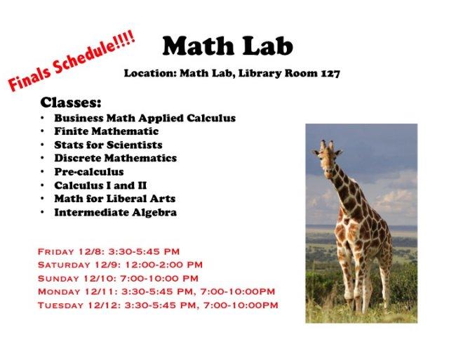 Math Lab Finals Schedule