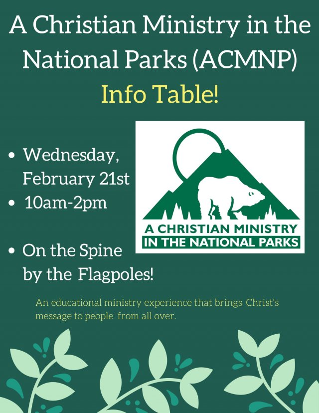 A Christian Ministry in the National Parks Info Table