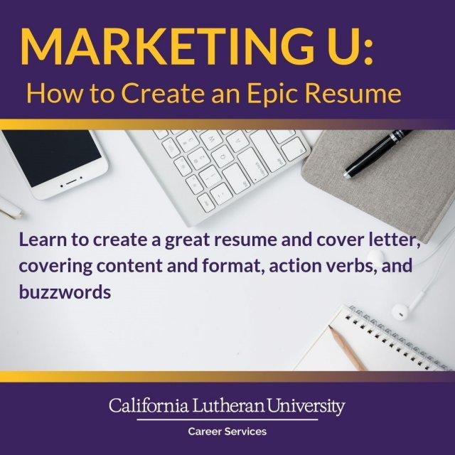 marketing u  how to create an epic resume