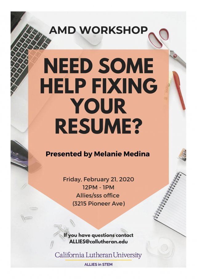 AMD Workshop: Need Some Help Fixing Your Resume?