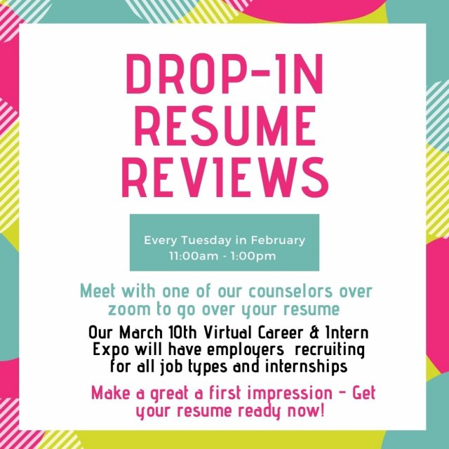 February Drop-In Resume Hours
