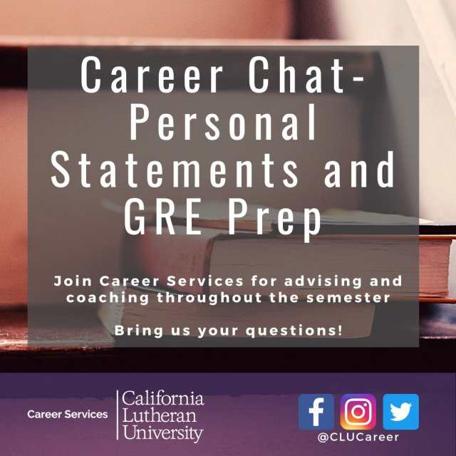 Career Chat-Personal Statements and GRE Prep