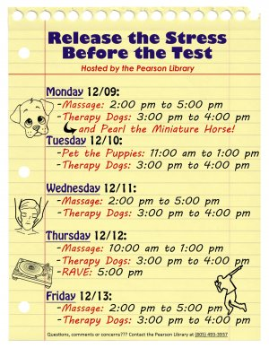 Release the Stess Before the Test! 3:00 pm to 4:00 pm