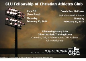 CLU Fellowship of Christian Athletes KICK OFF
