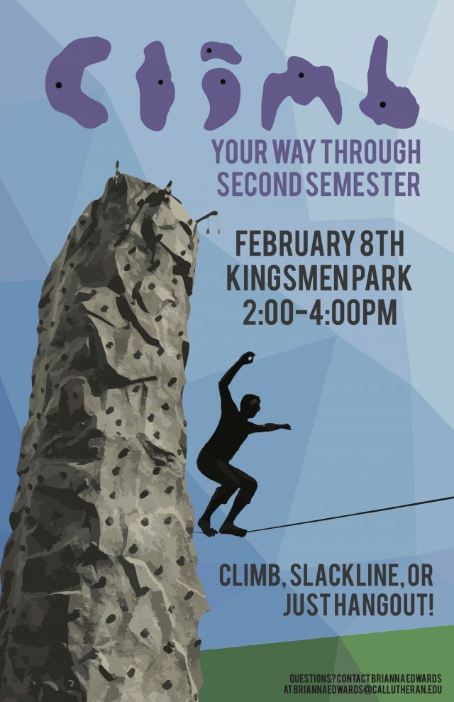 """Outdoor Recreation: Afternoon Adventure """"Climb Your Way Through 2nd Semester"""""""