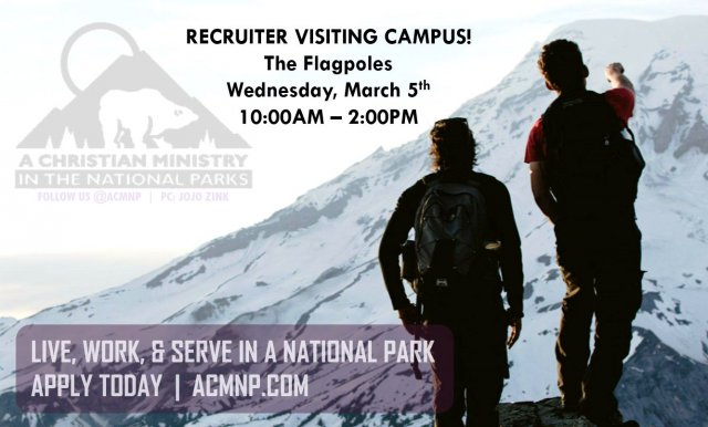 On campus recruiting: A Christian Ministry in the National Parks