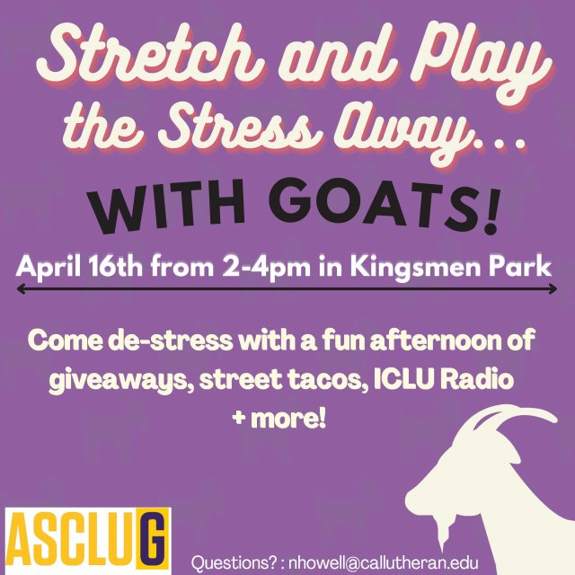 ASCLUG Presents: Stretch & Play the Stress Away - with Goats!